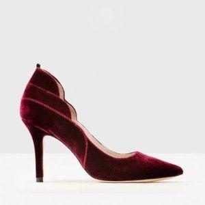 BODEN red velvet carrie heels pumps size 38 (US 7)